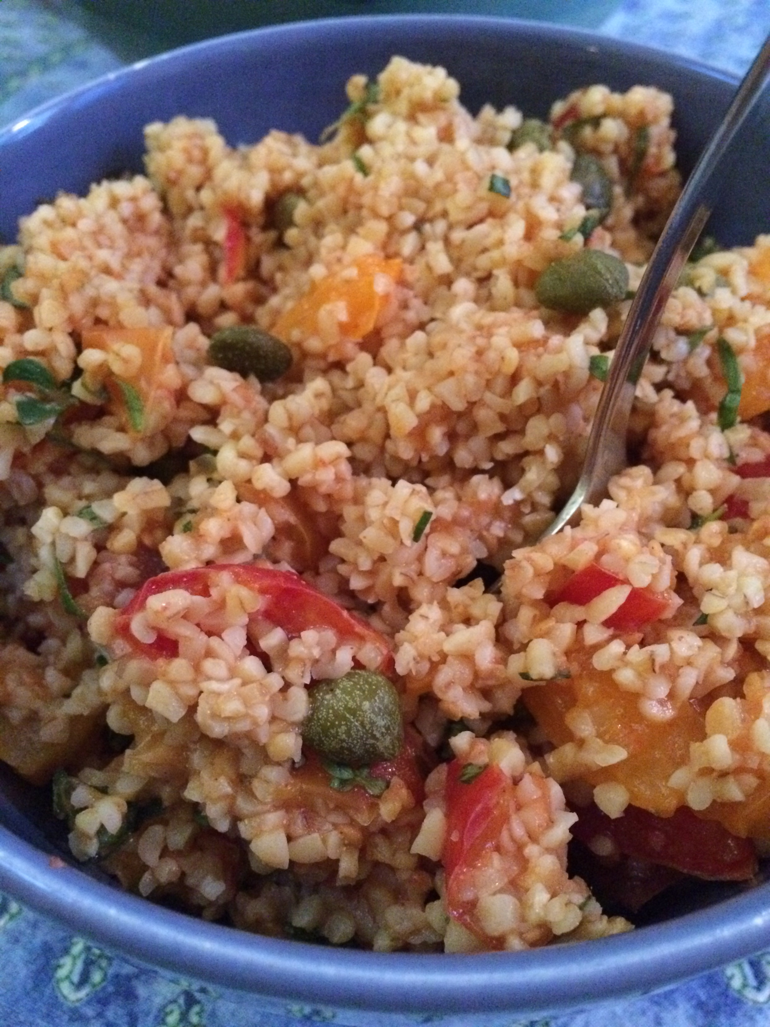 summer bulgur-heirloom tomato salad